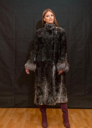 Нереально крутая шуба - пальто из мраморной аукционной каракульчи с чернобуркой! италия!