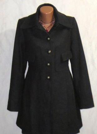 Стильное шерстяное пальто от bon`a parte  размер: 46-м