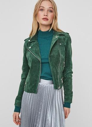 Стильная куртка vero moda косуха натуральная замшевая байкер
