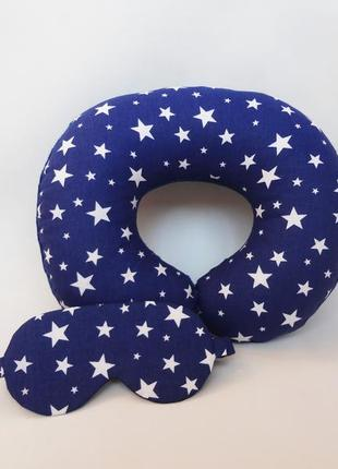 Двухсторонняя дорожная подушка на шею из плюша и хлопка - звездопад