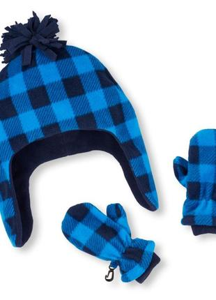 Флисовая шапка + рукавицы, размер 1-4 года