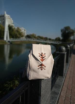Молочный рюкзак натуральная кожа с росписью акрилом геометрия