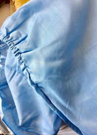 Простынь на резинке 150х200 голубая
