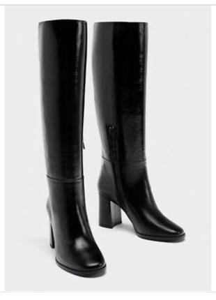 Очень крутые сапоги zara, черного цвета. натуральная кожа полностью 100%, деми сезон