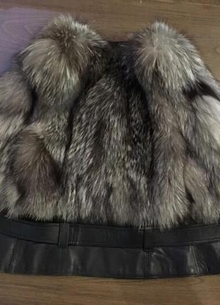 Шикарный жилет чернобурка кожа,жилетка меховая,безрукавка,шубка,шуба