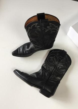 Ковбойские кожаные сапоги казаки натуральная кожа сша винтаж вестерн черные