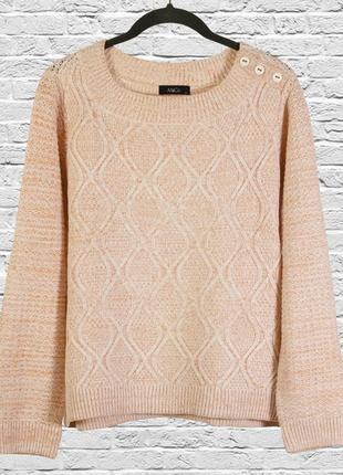 Нежный светлый морковный свитер свободный