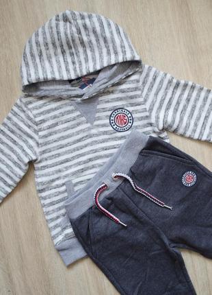 Спортивний костюм: велюрова кофта та штани з манжетом на 18-24 місяці