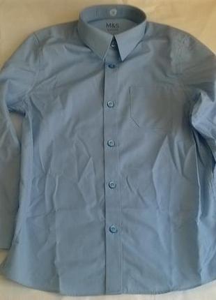 Новые школьные рубашки голубые marks&spenser легкая глажка