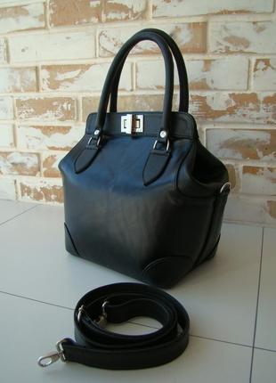 Шикарная кожаная женская сумка-саквояж /черная сумка/ женская сумка/ черный саквояж