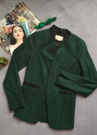 Шикарный пиджак жакет изумрудного цвета h&m