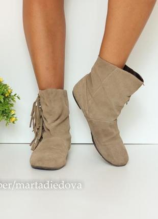 Кожаные замшевые ботинки полусапожки, натуральная замша,  бренд ludwig görtz