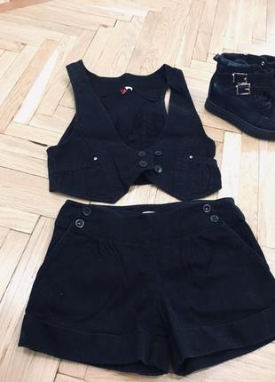 Трендовый набор жилет шорты костюм шортики жилетка акция 1+1=3 s m