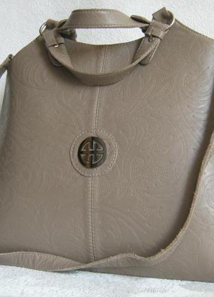 Сумка кожаная 39х30х13 деловая портфель саквояж состояние новой длинная ручка через плечо