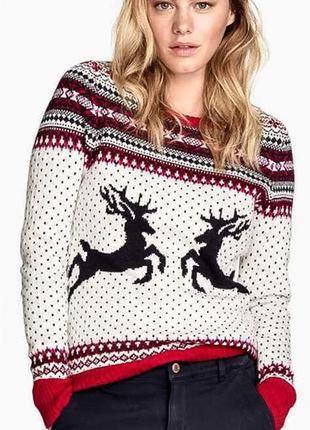 Милейший свитер с оленями и с шерстью от h&m