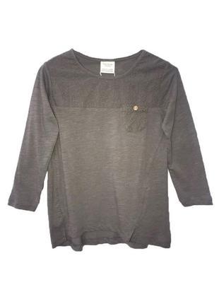 Новая футболка с длинными рукавами серая, zara, 7134
