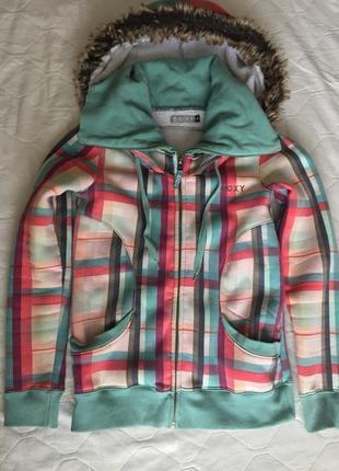 Теплая яркая кофта толстовка на меху куртка на весну осень фирмы roxy