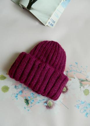 Объёмная вязаная шапка мохер цвета фуксии шапка в стиле такори hand made