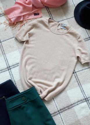 Кашемировый свитер с коротким рукавом кремового цвета от maddison
