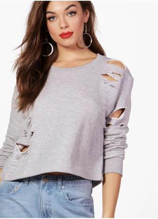 Укороченый серый свитер с рваностями🖤 boohoo