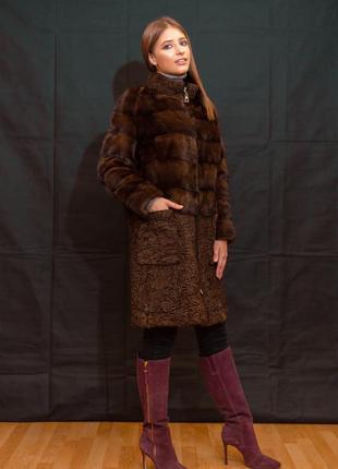 Нереально крутая модель- шуба-пальто из датской норки и аукционной каракульчи в тон!