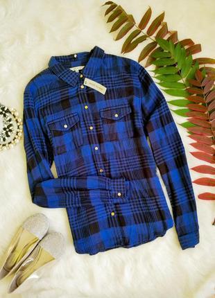 Новая синяя рубашка в клетку со 100% вискози. river island. смотрите другие мои объявления