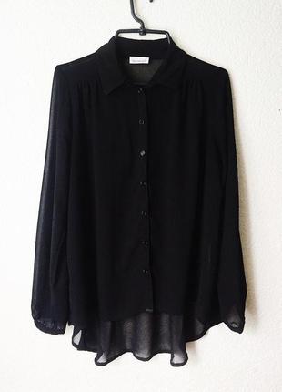 Черная полупрозрачная блуза yessica