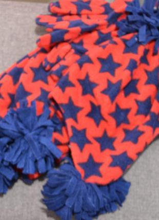 Тёплый флисовый набор шапка+шарф+перчатки mothercare на мальчика 1-3 года
