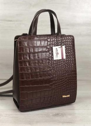 Коричневая сумка-рюкзак трансформер крокодиловая через плечо