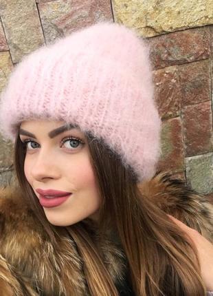 Вязаная шапочка шапка с отворотом