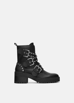 Кожаные ботинки с пряжками, 36-40