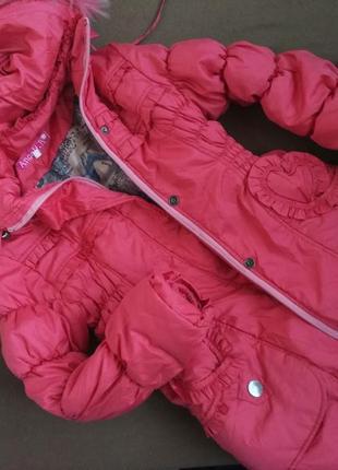 Куртка-пальто на девочку, зимняя, с мехом