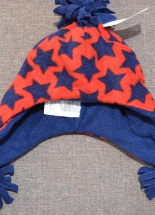Тёплый флисовый набор шапка+перчатки mothercare на мальчика 3-6 лет