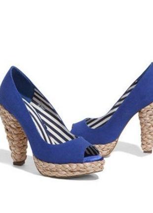 Синие туфли с открытым носком h&m размер 39 стелька 25 см