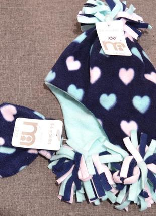 Тёплый флисовый набор шапка+варежки mothercare на девочку 3-6 и 6-12 мес