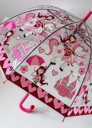 Качественный купольный прозрачный детский зонт зонтик трость для девочки