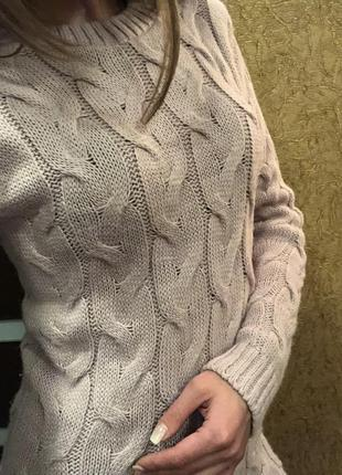 Продам вязаное платье (пудра)