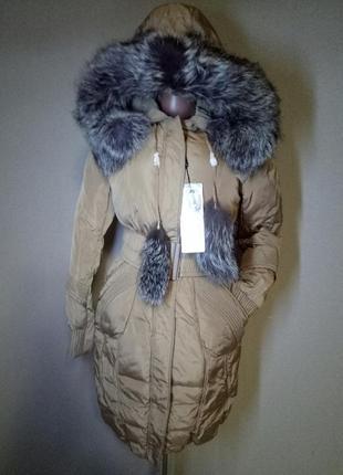 Пуховик,пальто с натуральным мехом для тебя красавица (s)