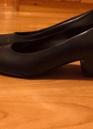 Туфли кожаные черные с супинатором 5 см каблук