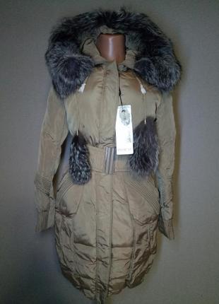 Пуховик,пальто с натуральным мехом для тебя красавица (xl)