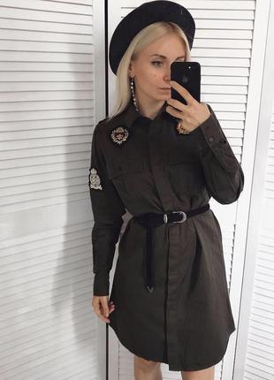 Плаття-сорочка з 3д нашивками / платье рубашка милитари