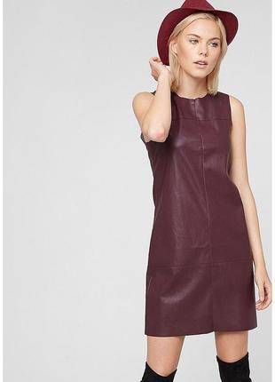 Кожаное платье бордового цвета