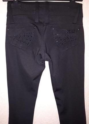 Черные трикотажные стрейчивые штаны  осенние плотные брюки леггинсы лосины джинсы