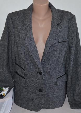 80e8c1f47c8 Брендовый серый шерстяной пиджак жакет с налокотниками и карманами papaya  большой размер
