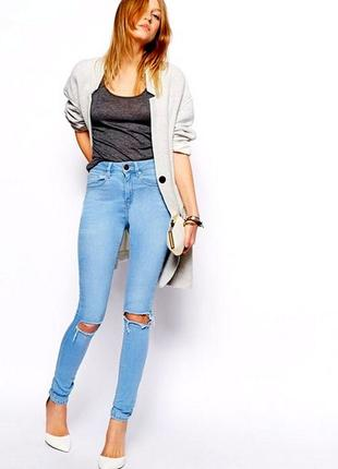 Голубые светлые джинсы с дырками, разрезами на коленях h&m skinny fit