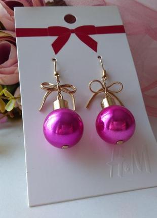 Новогодние серьги сережки елочные шары от h&m