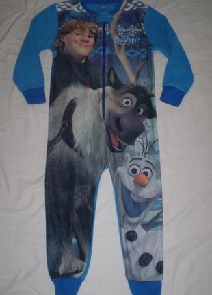 Теплый флисовый человечек слип пижама ромпер 2-3 года 98 см