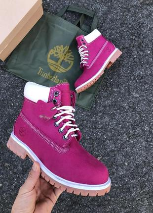 Розовые  женские ботинки timberland