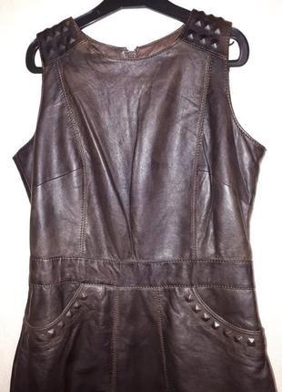 Стильное кожаное платье натуральная кожа платье-футляр очень мягкое, удобное и практичное