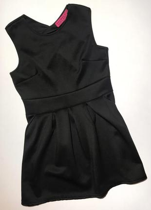 Черное милое мини платье с открытой спинкою р. 14 идет на s/m